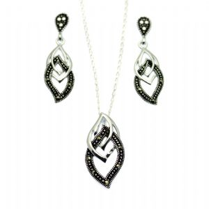 Marcasite Jewellery Set Pendant & Earrings Sterling Silver Double Leaf Design